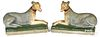 Pair of Pennsylvania chalkware whippets, 19th c.