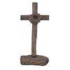 Cruz latina. Siglo XX. En talla de madera acabado crudo. Con base de tronco. Decorada con corona.