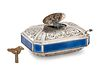 A German Silver and Enamel Singing Bird Automaton Box