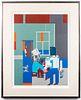 "Romare Bearden ""Carolina Blue"" Screenprint Collage"