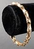 14K Yellow Gold Bamboo Motif Bangle Bracelet