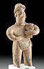 Exhibited Colima Terracotta Figure Holding Dog