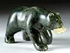 Signed 20th C. Inuit Green Steatite Bear w/ Fish