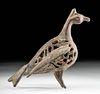 12th C. Persian Seljuk Brass Censer - Standing Bird