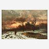 Ernesto Strigelly (German, 19th Century), , Winter Twilight in the Rhine Valley
