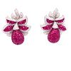 18k Diamond Ruby Invisible Setting EarringsÊ