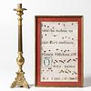 Brass Altar Candlestick and a Framed Manuscript Page