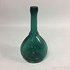 "Blue/Green Blown Glass ""Jenny Lind"" Flask"