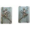 "(2 Pc) ""Gori"" French Art Deco Glass Silvered Bronze Wall Sconces"