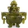 Chinese Carved Jade Dragon Censor