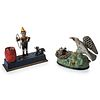 Two Cast-Iron Mechanical Banks: Trick Dog and Eagle and Eaglettes