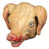 A Carved and Painted Wood Pig's Head Butcher Sign with Glass Eyes