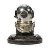 A Rare Siebe Gorman & Co. Silvered Metal and Ebonized Wood Diving Helmet-Form Inkwell, London, England, Circa 1910