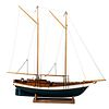 A Polychrome Paint Decorated Carved Wood Schooner Model