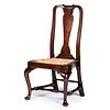 A Queen Anne Carved Walnut Pad-Foot Compass-Seat Side Chair, Boston, Massachusetts, Circa 1750