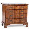 A Queen Anne Style Serpentine Front Carved Pine Chest of Drawers