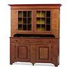 A Country Grain Painted Pine Stepback Cupboard, Likely Pennsylvania or Ohio