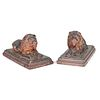 A Pair of Red Glazed Sewer Tile Lions