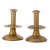A Pair of Early Turned Brass Candlesticks