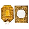 A Continental Pressed Brass Mirror and Sconce