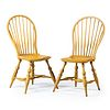 A Pair of Robert Barrow Yellow Painted Compass-Seat Bow-Back Windsor Side Chairs