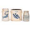 Three Cobalt-Decorated Stoneware Crocks