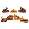Seven Bennington-Style Figural Inkwells and Paperweights