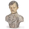 A Carved and Painted Red Oak Bust of a Mustachioed Gentleman, Circa 1860, Found in Tennessee