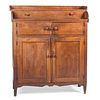 A Country Carved Cherrywood Jelly Cupboard, Likely Southern Mid-Atlantic, David Wilson Rush, dated 1881