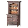 A Country Red-Painted Pine Diminutive Step-Back Cupboard