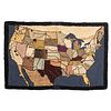 A Map of the United States Hooked Rug, 1940