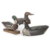 Three Carved and Painted Wooden Duck Decoys