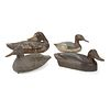Four Carved Wooden Duck Decoys