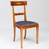 Continental Neoclassical Style Mahogany, Burlwood and Fruitwood Parquetry Side Chair