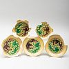 Group of Five Chinese Yellow Glazed Porcelain Dragon Saucers