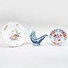 Chinese Export Porcelain Sauce Boat, a Plate, and a China Trade Side Plate
