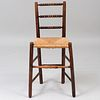 Victorian Oak Spindle Back and Rush Seat Child's Chair