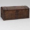 Northern European Metal-Mounted Carved Oak Domed Trunk, signed J.V.M, 1729