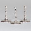 Group of Three Queen Anne Style Silver Candlesticks