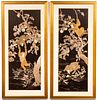 Japanese Embroidered Silk Panels With Monkeys, Pr