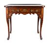 A Dutch Rococo Style Marquetry Side Table Height 28 x width 28 3/8 x depth 16 1/2 inches.