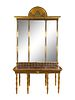 A Swedish Neoclassical Parcel-Gilt, Eglomise and Porphyry Console and Mirror Height overall 112 1/2 x width 57 1/4 x depth 29 inches. Height of consol