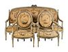 A Louis XVI Tapestry-Upholstered Five-Piece Salon Suite Height of fauteuils 40 3/4 x width 26 x depth 21 inches; height of canape 44 x length 76 x dep