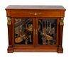 An Empire Style Gilt-Bronze-Mounted Coromandel Lacquer and Mahogany Mueble d'Appui Height 37 x length 43 1/4 x depth 19 inches.