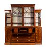 A George III Style Inlaid Mahogany Breakfront Secretary Bookcase Height 85 x length 88 1/4 x depth 19 inches.
