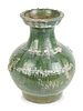 A Chinese Green-Glazed Terracotta Hu-Form Vase Height 14 inches.