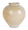A Chinese White-Glazed Ceramic Ovoid Jar Height 11 x diameter 9 1/2 inches.