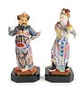 A Pair of Chinese Famille Rose Porcelain Figures Height 12 1/2 inches.