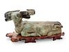 A Chinese Export Carved Hardstone Model of a Bull Height of bull 7 3/8 x length 20 x depth 10 1/4 inches.