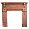A Sunflower, Cornstalk and Horse Chip-Carved and Red-Painted Pine Fireplace Surround